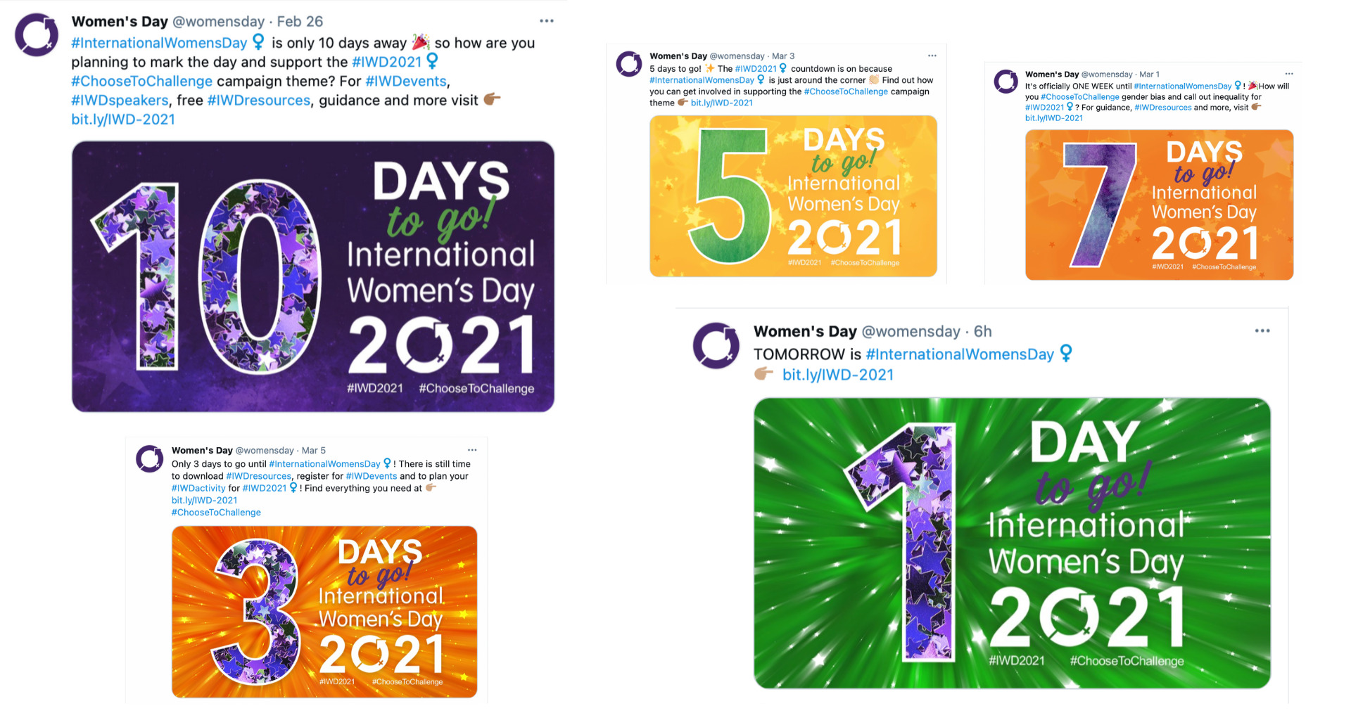 Images of IWD's Twitter countdown promotions