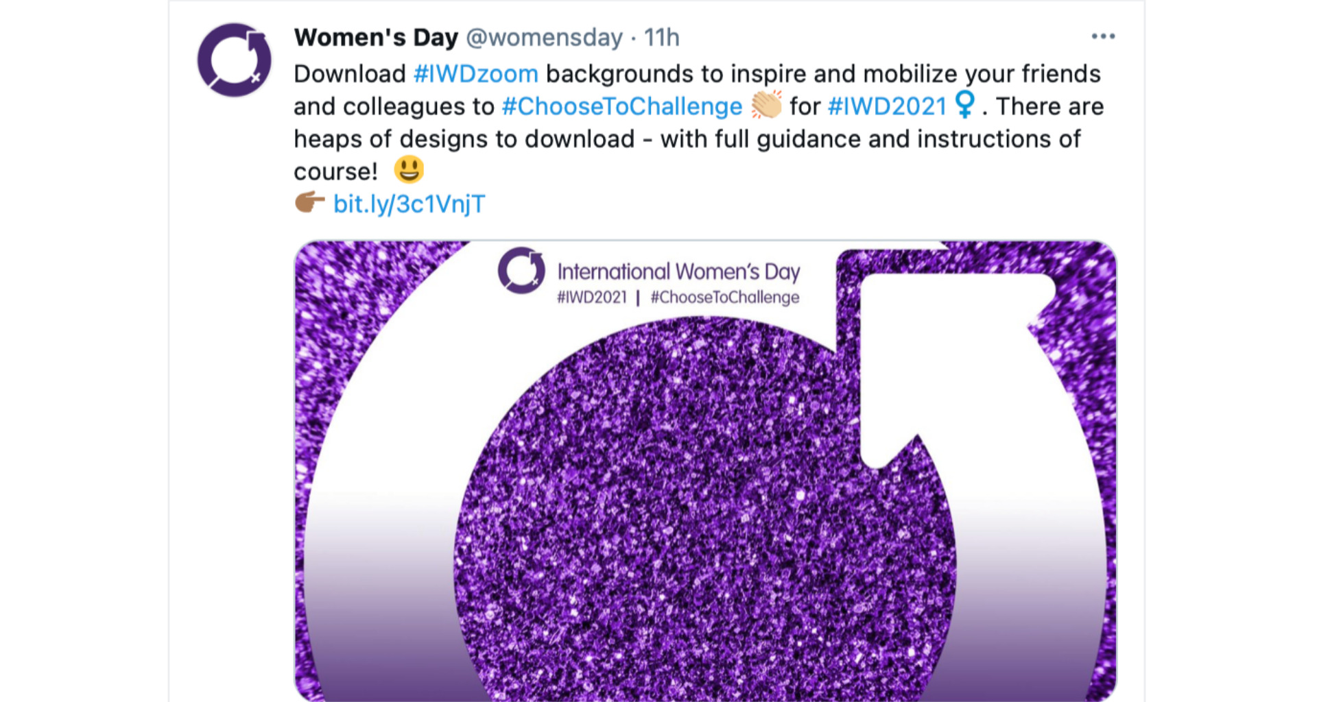 Image of Tweet sharing IWD Zoom background template