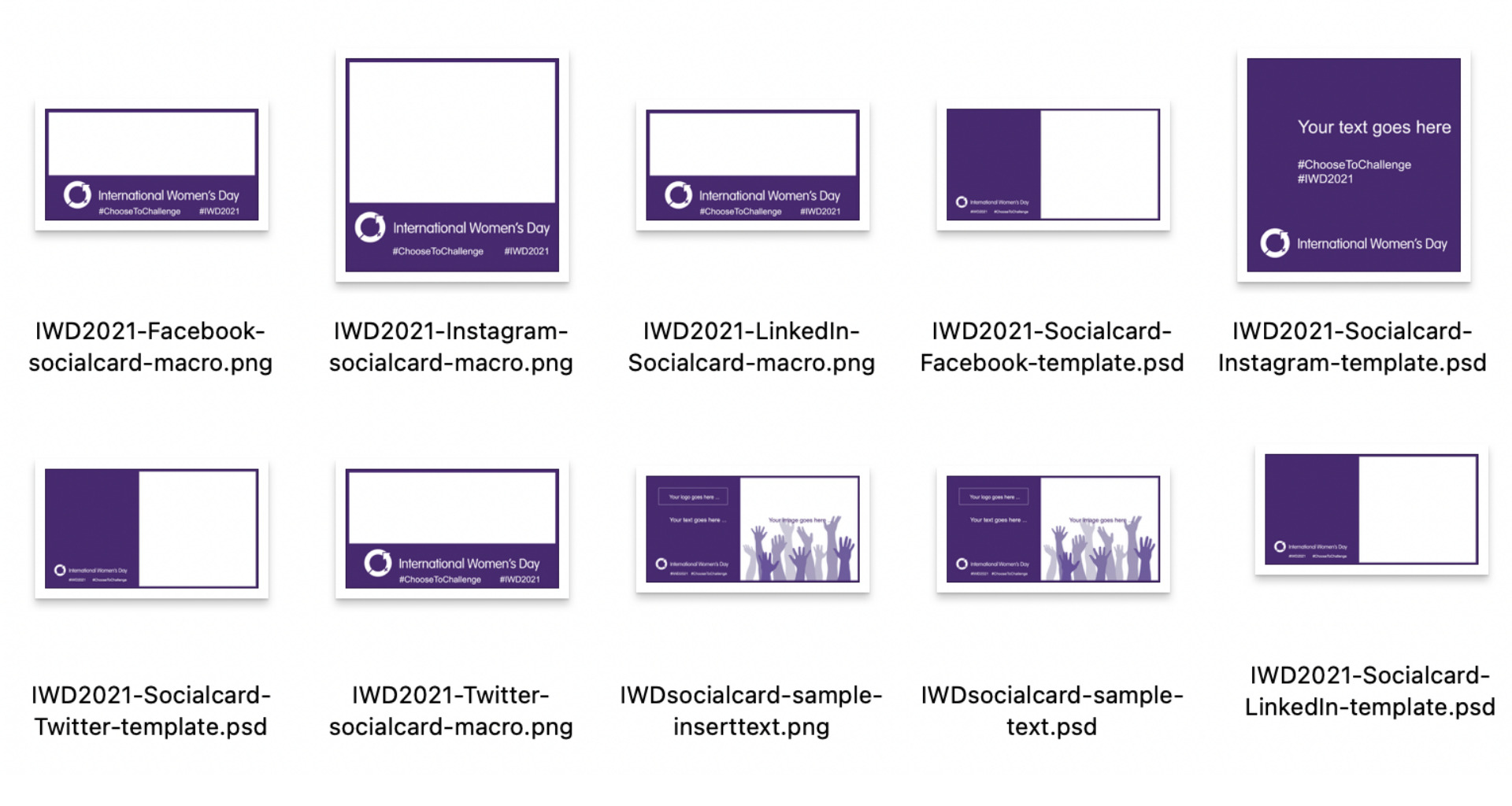 Image displays IWD's full range of social media templates