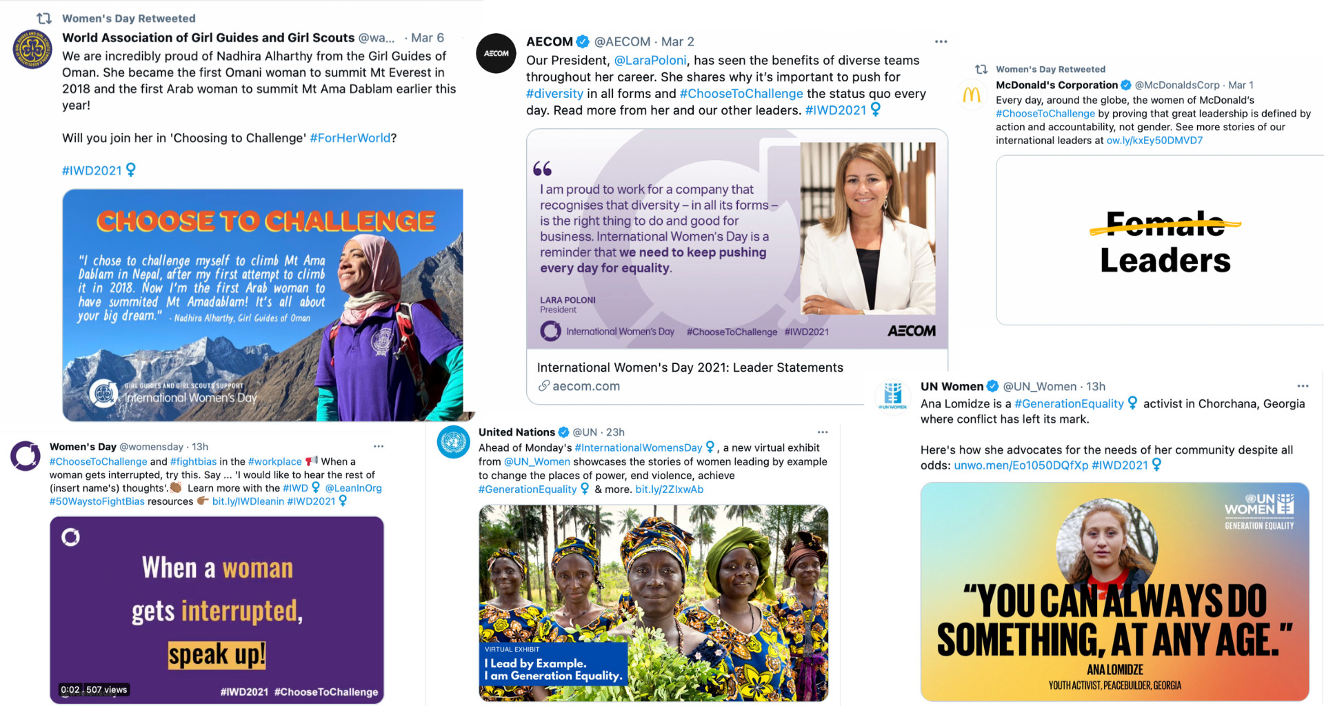 Images of some of the stories shared by IWD on social media